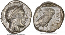 ATTICA. Athens. Ca. 440-404 BC. AR tetradrachm (24mm, 17.17 gm, 10h). NGC Choice VF 5/5 - 4/5. Mid-mass coinage issue. Head of Athena right, wearing c...