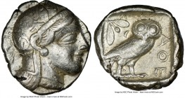 ATTICA. Athens. Ca. 440-404 BC. AR tetradrachm (25mm, 17.17 gm, 8h). NGC VF 5/5 - 3/5. Mid-mass coinage issue. Head of Athena right, wearing crested A...