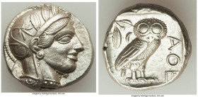 ATTICA. Athens. Ca. 440-404 BC. AR tetradrachm (24mm, 17.20 gm, 1h). AU. Mid-mass coinage issue. Head of Athena right, wearing crested Attic helmet or...