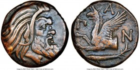 CIMMERIAN BOSPORUS. Panticapaeum. 4th century BC. AE (20mm, 12h). NGC VF. Head of bearded Pan right / Π-A-N, forepart of griffin left, sturgeon left b...