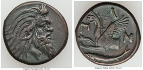 CIMMERIAN BOSPORUS. Panticapaeum. 4th century BC. AE (21mm, 6.63 gm, 6h). Choice VF. Head of bearded Pan right / Π-A-N, forepart of griffin left, stur...