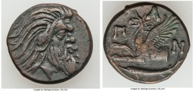 CIMMERIAN BOSPORUS. Panticapaeum. 4th century BC. AE (21mm, 7.58 gm, 12h). VF. Head of bearded Pan right / Π-A-N, forepart of griffin left, sturgeon l...