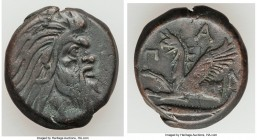 CIMMERIAN BOSPORUS. Panticapaeum. 4th century BC. AE (21mm, 7.60 gm, 12h). Choice VF. Head of bearded Pan right / Π-A-N, forepart of griffin left, stu...