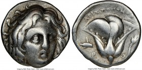 CARIAN ISLANDS. Rhodes. Ca. 275-250 BC. AR didrachm (18mm, 12h). NGC Choice Fine. Aristonomos, magistrate. Head of Helios facing, turned slightly righ...
