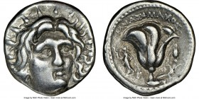 CARIAN ISLANDS. Rhodes. Ca. 250-200 BC. AR didrachm (19mm, 11h). NGC Choice VF. Mnasimaxus, magistrate. Radiate head of Helios facing, turned slightly...