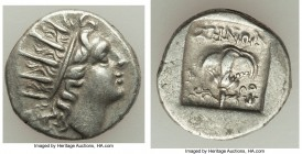 CARIAN ISLANDS. Rhodes. Ca. 88-84 BC. AR drachm (15mm, 2.53 gm, 12h). XF. Plinthophoric standard, Zenon, magistrate. Radiate head of Helios right / ZH...