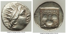 CARIAN ISLANDS. Rhodes. Ca. 88-84 BC. AR drachm (14mm, 2.32 gm, 12h). Choice VF. Plinthophoric standard, Nicephorus, magistrate. Radiate head of Helio...