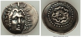 CARIAN ISLANDS. Rhodes. Ca. 84-30 BC. AR drachm (21mm, 4.17 gm, 12h). Choice XF. Radiate head of Helios facing, turned slightly right, hair parted in ...
