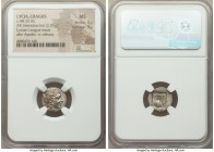 LYCIAN LEAGUE. Cragus. Ca. 48-20 BC. AR hemidrachm (14mm, 2.05 gm, 12h). NGC MS 5/5 - 5/5. Series 1. Laureate head of Apollo right; Λ-Y below / K-P, c...