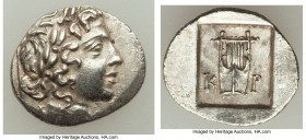 LYCIAN LEAGUE. Cragus. Ca. 48-20 BC. AR hemidrachm (15mm, 1.72 gm, 12h). Choice AU. Series 1. Laureate head of Apollo right; Λ-Y below / K-P, cithara ...