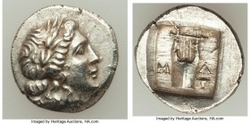 LYCIAN LEAGUE. Masicytes. Ca. 48-20 BC. AR hemidrachm (14mm, 1.98 gm, 12h). Series 1. Laureate head of Apollo right; Λ-Y below / M-A, cithara (lyre); ...