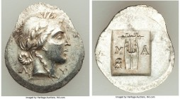 LYCIAN LEAGUE. Masicytes. Ca. 48-20 BC. AR hemidrachm (20mm, 2.01 gm, 12h). AU. Series 3. Laureate head of Apollo right; Λ-Y below / M-A, cithara (lyr...
