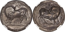 LUCANIA. Sybaris. Ca. 550-510 BC. AR stater or nomos (30mm, 7.90 gm, 12h). NGC AU 5/5 - 2/5, bent. Bull standing left, head right, on beaded double gr...