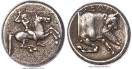 SICILY. Gela. Ca. 490-475 BC. AR didrachm (19mm, 8.38 gm, 7h). ANACS VF 35. Horseman, nude save for pileus, on horse galloping right, brandishing spea...