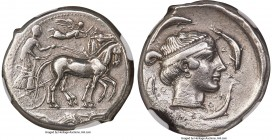 SICILY. Syracuse. Second Democracy (ca. 450-440 BC). AR tetradrachm (26mm, 16.97 gm, 8h). NGC XF 4/5 - 2/5, brushed. Charioteer driving quadriga walki...