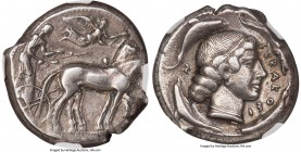 SICILY. Syracuse. Second Democracy (ca. 450-440 BC). AR tetradrachm (24mm, 17.21 gm, 8h). NGC Choice VF 4/5 - 4/5. Ca. 450 BC. Charioteer driving quad...