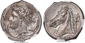 SICILY. Siculo-Punic. Ca. 320-300 BC. AR tetradrachm (27mm, 16.90 gm, 7h). NGC AU S 5/5 - 4/5, Fine Style. Head of Tanit-Persephone left, wreathed in ...