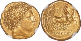 MACEDONIAN KINGDOM. Philip II (359-336 BC). AV stater (18mm, 8.62 gm, 9h). NGC AU 5/5 - 4/5. Late lifetime-early posthumous issue of Pella, ca. 340/36...