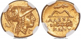 MACEDONIAN KINGDOM. Alexander III the Great (336-323 BC). AV quarter-stater (11mm, 2.15 gm, 5h). NGC Choice AU 5/5 - 4/5. Late lifetime-early posthumo...