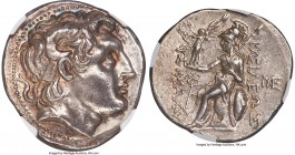 THRACIAN KINGDOM. Lysimachus (305-281 BC). AR tetradrachm (31mm, 17.31 gm, 4h). NGC AU 5/5 - 4/5, die shift. Amphipolis, ca. 288-282 BC. Diademed head...