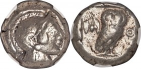 ATTICA. Athens. Ca. 510/500-480 BC. AR tetradrachm (21mm, 16.77 gm, 11h). NGC VF 5/5 - 4/5. Head of Athena right, wearing crested Attic helmet, the cr...