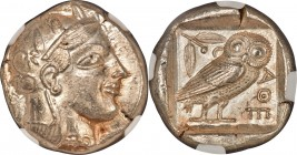 ATTICA. Athens. Ca. 465-455 BC. AR tetradrachm (25mm, 17.16 gm, 7h). NGC Choice AU 5/5 - 4/5, Fine Style. Head of Athena right, wearing crested Attic ...