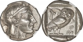 ATTICA. Athens. Ca. 465-455 BC. AR tetradrachm (23mm, 17.10 gm, 10h). NGC AU S 5/5 - 5/5. Head of Athena right, wearing crested Attic helmet ornamente...