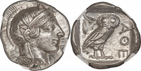 ATTICA. Athens. Ca. 440-404 BC. AR tetradrachm (26mm, 17.21 gm, 10h). NGC Choice MS 5/5 - 5/5. Mid-mass coinage issue. Head of Athena right, wearing c...