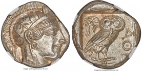 ATTICA. Athens. Ca. 440-404 BC. AR tetradrachm (24mm, 17.22 gm, 10h). NGC MS 5/5 - 5/5. Mid-mass coinage issue. Head of Athena right, wearing crested ...