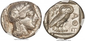 ATTICA. Athens. Ca. 440-404 BC. AR tetradrachm (25mm, 17.21 gm, 2h). NGC MS 5/5 - 5/5. Mid-mass coinage issue. Head of Athena right, wearing crested A...