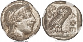 ATTICA. Athens. Ca. 440-404 BC. AR tetradrachm (24mm, 17.18 gm, 10h). NGC MS 5/5 - 5/5. Mid-mass coinage issue. Head of Athena right, wearing crested ...