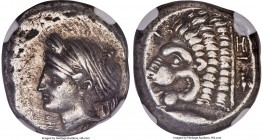 MYSIA. Cyzicus. Ca. 390-330 BC. AR tetradrachm (23mm, 15.07 gm, 6h). NGC Choice XF 4/5 - 3/5. Head of Kore-Soteira left, wearing single-pendant earrin...
