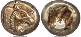 IONIA. Uncertain mint. Ca. 650-550 BC. EL sixth-stater or hecte (10mm, 2.32 gm). NGC Choice AU 4/5 - 5/5. Lydo-Milesian standard. Head of lion right, ...