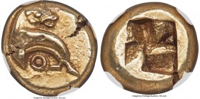 IONIA. Phocaea. Ca. 625-522 BC. EL sixth-stater or hecte (10mm, 2.59 gm). NGC AU 4/5 - 3/5. Seal swimming left, head reverted; annulet below / Rough q...