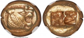 LYDIAN KINGDOM. Alyattes or Walwet (ca. 610-546 BC). EL third-stater or trite (13mm, 4.69 gm). NGC XF 5/5 - 3/5, light scratches. Uninscribed, Lydo-Mi...