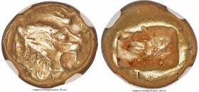 LYDIAN KINGDOM. Alyattes or Walwet (ca. 610-546 BC). EL third-stater or trite (13mm, 4.69 gm). NGC Choice VF 4/5 - 4/5. Uninscribed, Lydo-Milesian sta...