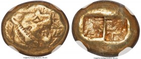LYDIAN KINGDOM. Walwet (before ca. 560 BC). EL third-stater or trite (13mm, 4.67 gm). NGC VF 5/5 - 3/5. Lydo-Milesian standard. Sardes(?) mint. Confro...