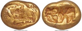 LYDIAN KINGDOM. Croesus (561-546 BC). AV third-stater or trite (11mm, 2.67 gm). NGC VF 5/5 - 3/5. Sardes, 'light' standard, ca. 553-539 BC. Confronted...