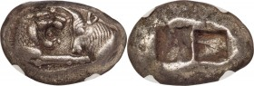 LYDIAN KINGDOM. Croesus (561-546 BC). AR stater or double siglos (21mm, 10.52 gm). NGC Choice XF 5/5 - 2/5. Sardes. Confronted foreparts of lion right...