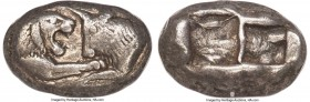 LYDIAN KINGDOM. Croesus (561-546 BC). AR stater or double siglos (20mm, 10.65 gm). NGC VF 5/5 - 4/5. Sardes. Confronted foreparts of lion right and bu...