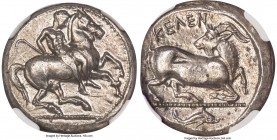 CILICIA. Celenderis. Ca. 425-350 BC. AR stater (20mm, 10.69 gm, 9h). NGC Choice AU 4/5 - 4/5. Ca. 425-400 BC. Youthful nude male rider, reins in left ...