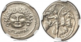 L. Plautius Plancus (ca. 47 BC). AR denarius (19mm, 3.90 gm, 7h). NGC Choice AU S 5/5 - 5/5. L•PLAVTIVS, head of Medusa facing, coiled snake on either...