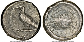 SICILY. Acragas. Ca. mid-5th century BC. AR pentalitra or drachm (14mm, 4.20 gm, 6h). NGC XF 4/5 - 3/5. Eagle standing left on a column capital, ΠEN (...