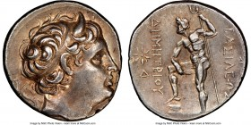 MACEDONIAN KINGDOM. Demetrius I Poliorcetes (306-283 BC). AR tetradrachm (27mm, 17.02 gm, 12h). NGC Choice XF 5/5 - 3/5, brushed. Uncertain mint, 294-...