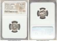 THESSALY. Larissa. 4th century BC. AR drachm (19mm, 6.07 gm, 5h). NGC Choice AU S 5/5 - 5/5, Fine Style. Head of nymph Larissa facing, turned slightly...