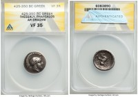 THESSALY. Pharsalus. Ca. 425-350 BC. AR drachm (19mm, 10h). ANACS VF35. Signed by the engraver A-. Head of Athena right, wearing crested Attic helmet ...