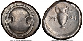 BOEOTIA. Thebes. Ca. 395-338 BC. AR stater (22mm, 12.06 gm, 1h). NGC XF 4/5 - 4/5. Ptoi-, magistrate. Boeotian shield / ΠΤ-ΟΙ, amphora; all within con...