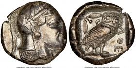 ATTICA. Athens. Ca. 465-455 BC. AR tetradrachm (24mm, 16.80 gm, 1h). NGC AU 2/5 - 2/5. Head of Athena right, wearing crested Attic helmet ornamented w...