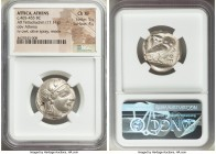 ATTICA. Athens. Ca. 465-455 BC. AR tetradrachm (24mm, 17.11 gm, 6h). NGC Choice XF 5/5 - 4/5. Head of Athena right, wearing crested Attic helmet ornam...