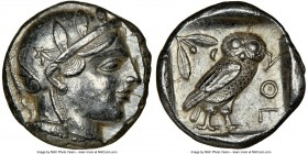 ATTICA. Athens. Ca. 455-440 BC. AR tetradrachm (23mm, 17.21 gm, 7h). NGC Choice AU 5/5 - 4/5. Early transitional issue. Head of Athena right, wearing ...